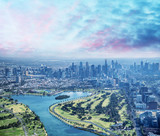 Melbourne aerial city view with Albert Park and skyscrapers - 224333547