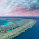Aerial view of Coral Reef at sunset - 224333703