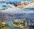 Leinwanddruck Bild - Melbourne aerial city view with Albert Park and skyscrapers