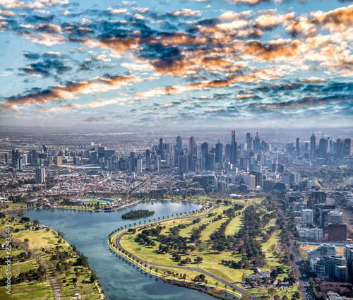Leinwanddruck Bild Melbourne aerial city view with Albert Park and skyscrapers