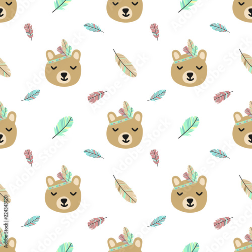 Seamless pattern of cartoon cute bear and feathers in Boho style. Hand-drawn illustration using as a print, background, wrapping paper, postcard. - 224343120