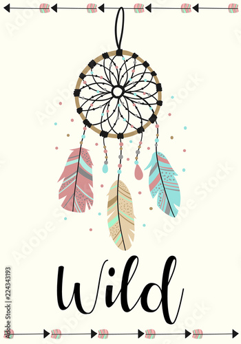 vector-image-of-dreamcatcher-and-arrows-in-the-boho-style-with-the-inscription-wild-cartoon-illustration-for-use-on-postcards-banners-posters-prints-on-clothes-for-children