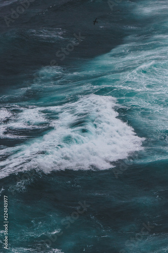 aerial view of wavy blue ocean for background