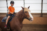 Boy in helmet learning Horseback Riding - 224344186