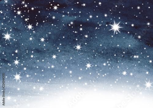 Leinwanddruck Bild Sternenhimmel auf Aquarell
