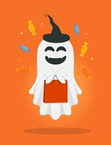 Vector cute cartoon ghost with bag and candies. Trick or treat. Halloween illustration