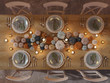 Leinwanddruck Bild - 3D rendering. top view of a thanksgiving table setting