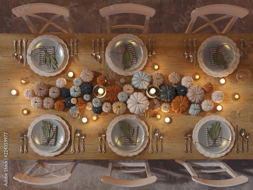 Leinwanddruck Bild 3D rendering. top view of a thanksgiving table setting