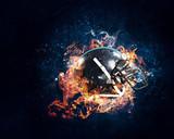 Burning rugby helmet