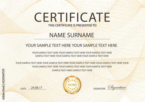 certificate template with guilloche pattern frame border design