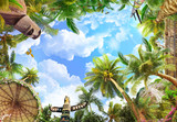 palm trees and blue sky ceiling - 224364984