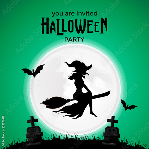 halloween invitation template with witch fly at the night with full