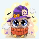 Cute Owl in a halloween hat