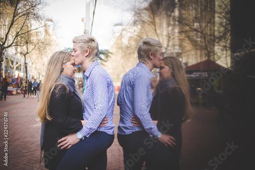 Lesbian kiss and sex