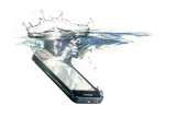 smart phone is falling into the water with splash, concept for waterproof product or insurance claim, isolated on a white background, copy space - 224377913