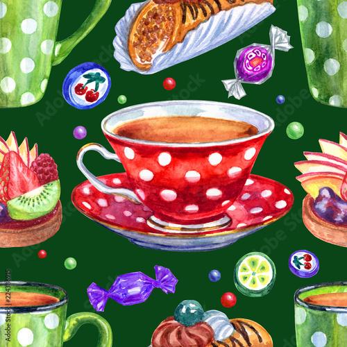 akwarela-wzor-z-kubkow-w-kropki-ciastka-i-czekoladki-na-zielonym-tle