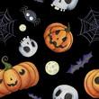 watercolor Halloween pattern with pumpkin, bat, web, skull, moon, spider - 224399906