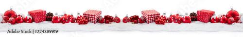 Leinwandbild Motiv Panorama Hintergrund zu Weihnachten mit Geschenken
