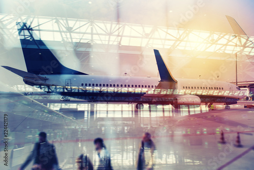 Modern airport with blur effects. double exposure © alphaspirit