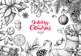 Christmas holiday greeting card. Vector hand drawn illustration