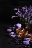 Lavander tea with macarons background - 224425586