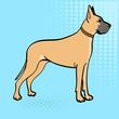 Great Dane breed of domestic dog. Pop art background. Retro style, comic emulation.