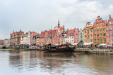 Gdansk Poland: Cityscape with old architecure and boats and ships on the Motlawa River