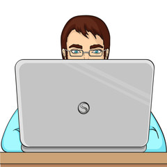 A male programmer works for laptops. IT staff at the computer. Raster object on a white background