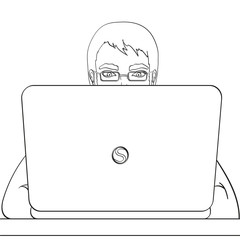 A male programmer works for laptops. IT staff at the computer. Illustration, object on white background. Coloring book