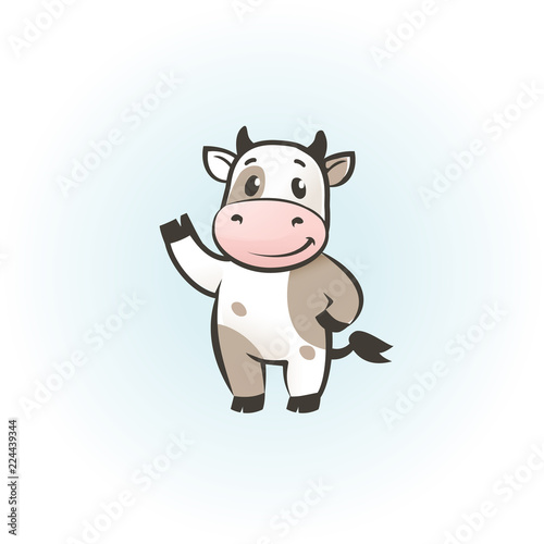funny cow cartoon character happy cow vector illustrarion logo