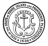 The Seal of the State of Rhode Island and Providence Plantations, 1636, vintage illustration