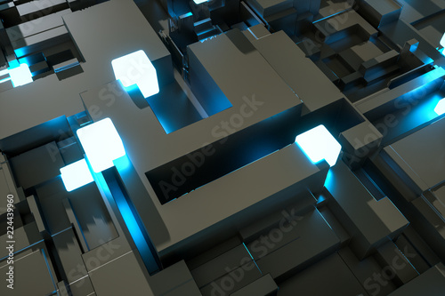 3d rendering, luminescent squares and dark background © Vink Fan