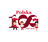11 november, Poland Happy Independence Day greeting card. 100 anniversary. Text in Polish: Poland 1918-2018