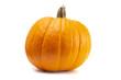 Single Large Orange Pumpkin on a White Background - 224453109