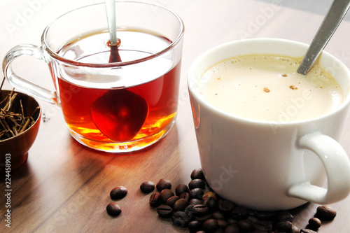 Wall mural Hot coffee and tea