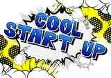 Cool Start Up - Comic book style phrase on abstract background. - 224462394