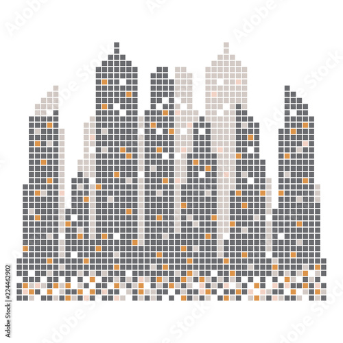 City skyline building pixels  illustration vector - 224462902