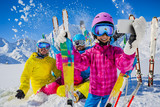 Teenager taking a selfie, girl taking a self portrait with mobile phone, sport skiing having fun on winter vacation.