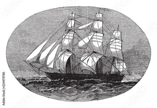 Fototapeta The School Ship USS Sabine, vintage illustration.