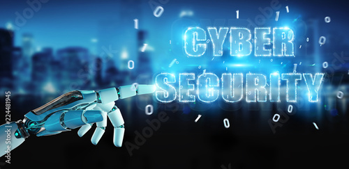 White humanoid hand using cyber security text hologram 3D rendering © sdecoret