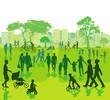 Stadtpark mit Personen in der Freizeit