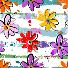 floral seamless pattern background, with stripes, paint strokes and splashes © Kirsten Hinte