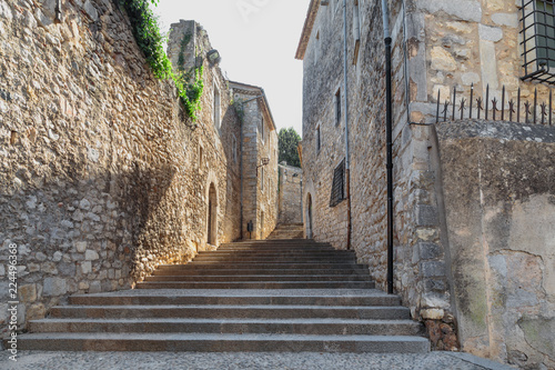 old stone staircase in Girona city, Spain