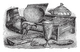 Egyptian Household Items is an illustration of various, vintage engraving. - 224497133