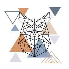 Wild Owl In Geometric Style  Illustration In The Scandinavian Style Sticker
