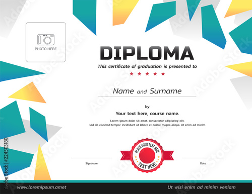 kids diploma or certificate template with photo affix buy photos
