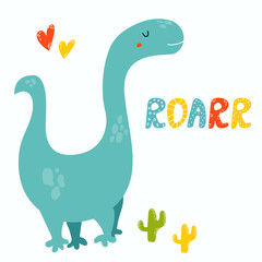Cute diplodocus dino. Roarr greeting card © Natalia