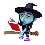 3d Funny cartoon Halloween witch flying on a broomstick and reading a book