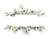 Watercolor vector Christmas banner with fir branches and place for text. - 224512922
