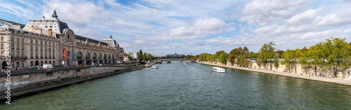 Panoramic view from Pont Royal with view over Seine river, Musee d'Orsay and Grand Palais - Paris, France - 224533165